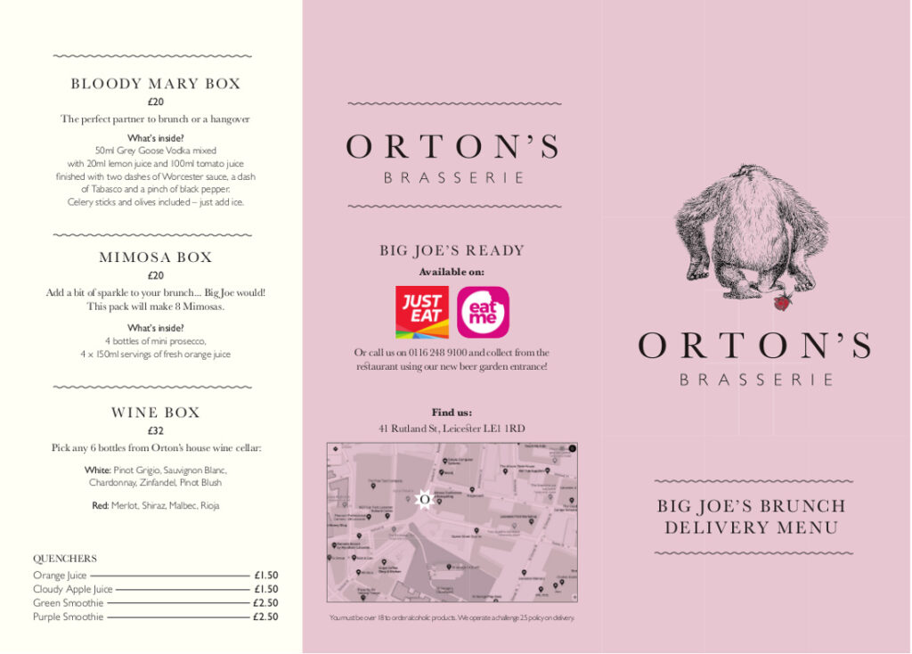 Joe's Delivery by Orton's Brasserie restaurant in Leicester menu page 1