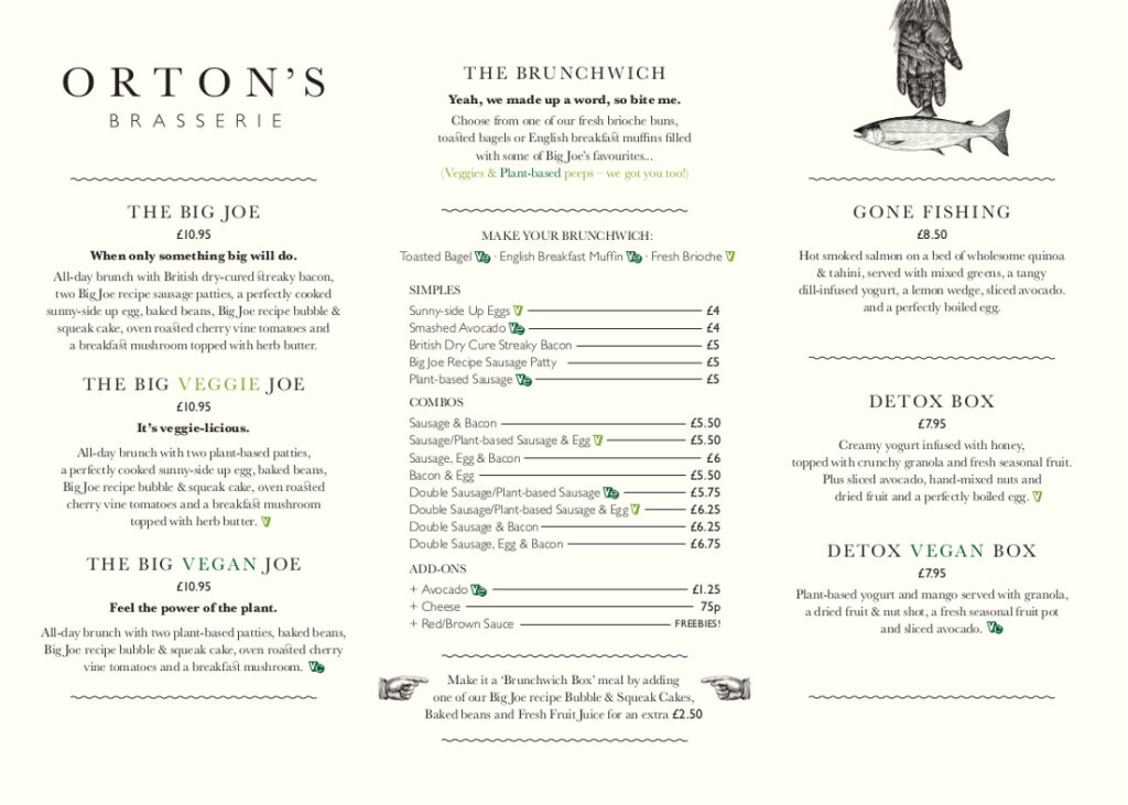Joe's Delivery by Orton's Brasserie restaurant in Leicester menu page 2